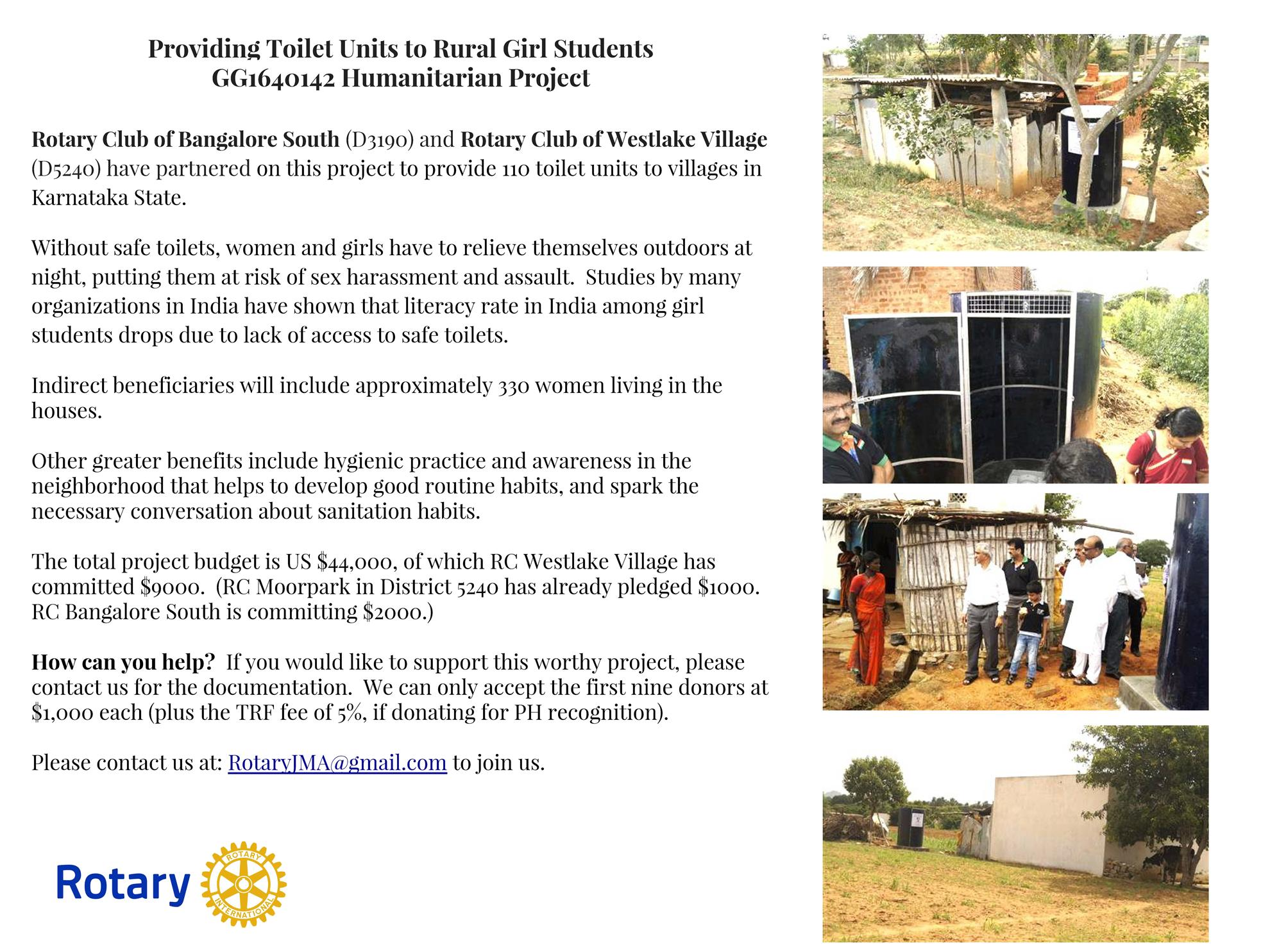 Global Grant- Toilets   Rotary District 5240