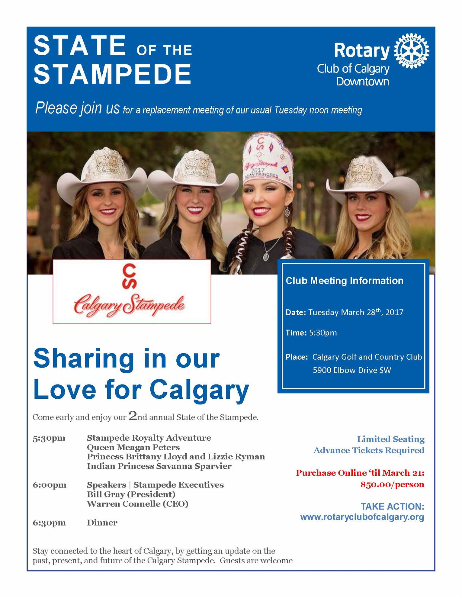 State Of The Stampede Tues Mar 28 Calgary Rotary