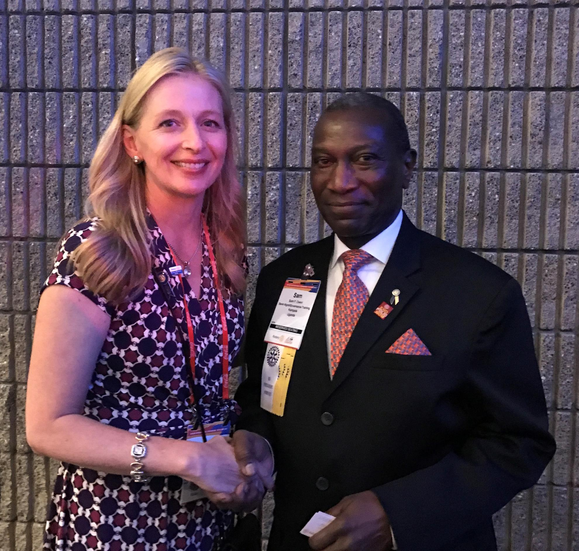 District Governor-Elect Jennifer Deroin and Sam Owori at the 2017 RI Convention in Atlanta