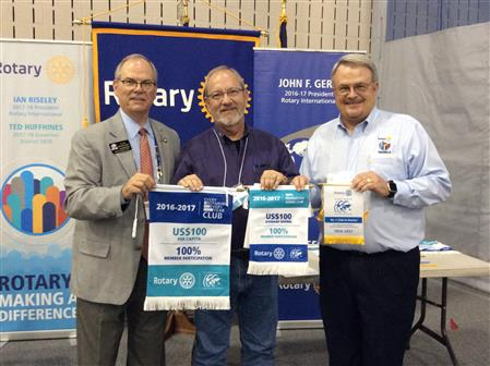 Kilgore RC receives  2nd Place Award for AF Per Capita Giving, plus awards for 100% TRF Giving and EREY Giving.  Pictured left to right: IPDG Lee Montgomery, Kilgore RC President Terry Booker, DG Ted Huffhines.
