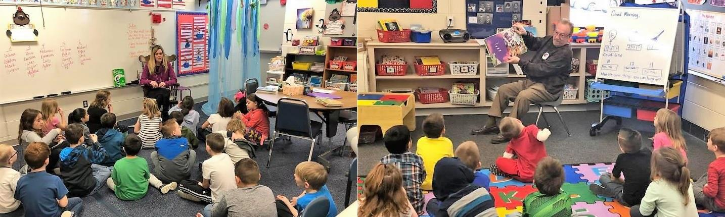 Rotary members Ray Champion reads to Mrs. Debbs' Begindergarten children, and Dana Walker reads to Mrs. Schapman's second grade children