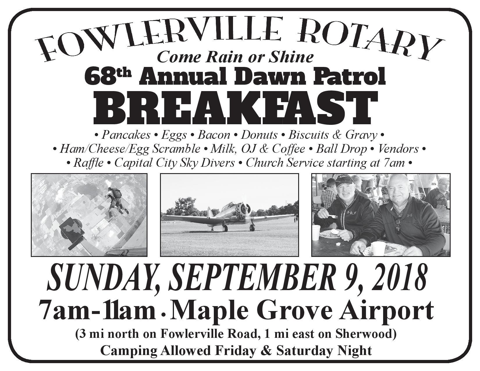 Fowlerville Rotary 68th Annual Dawn Patrol Breakfast