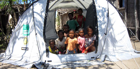ShelterBox with children