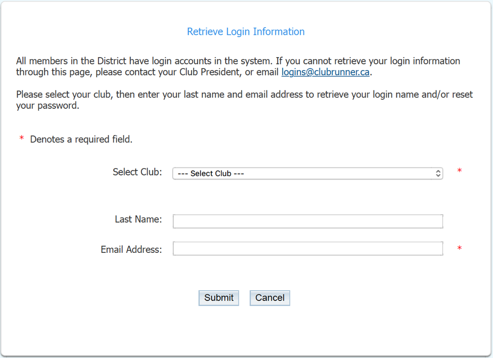 Set up my Login & Password | Rotary District 7010
