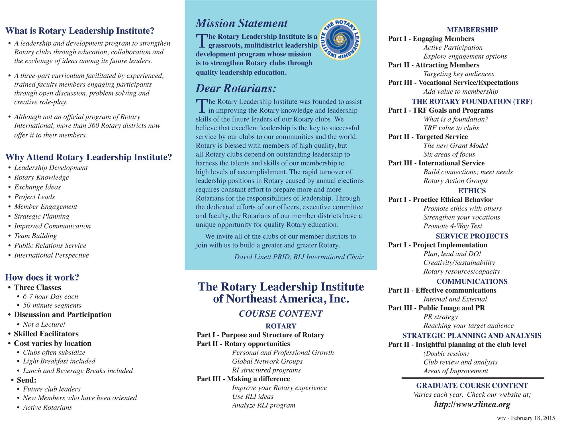 Rotary Learning Institute Nov 14 at Mt St Mary College