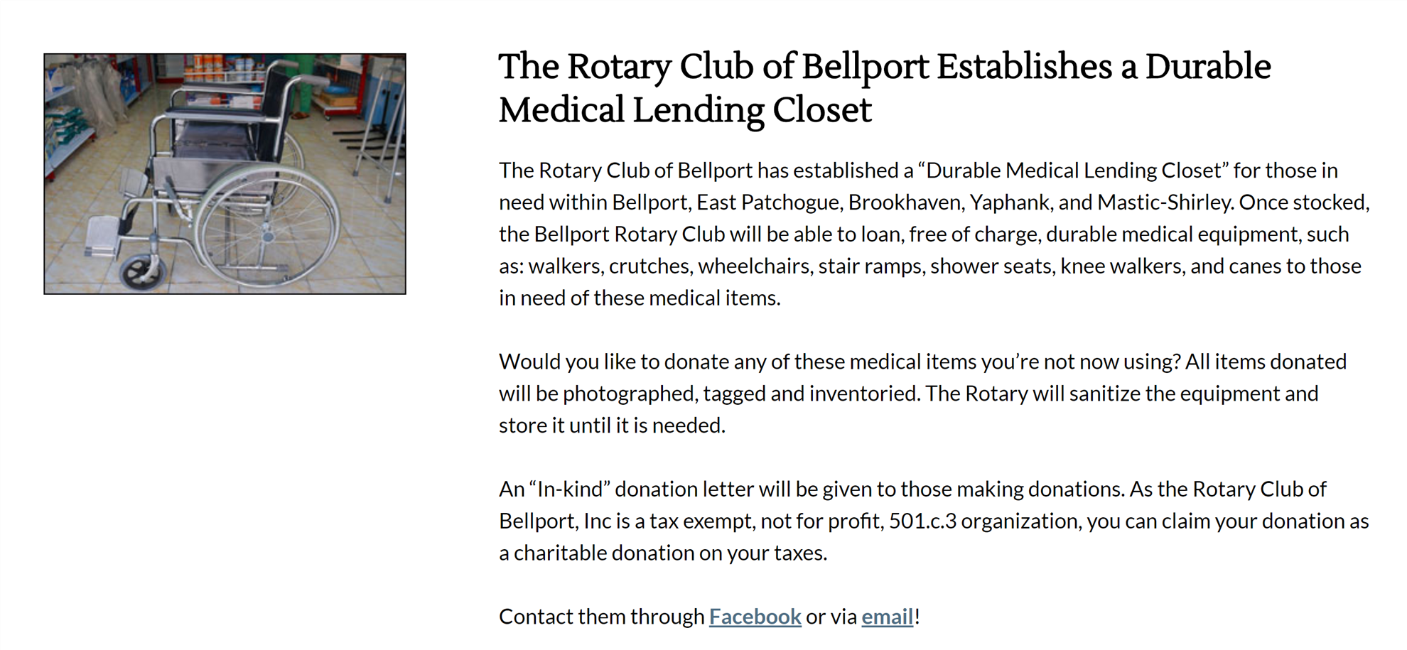 The Rotary Club of Bellport Establishes a Durable Medical Lending Closet