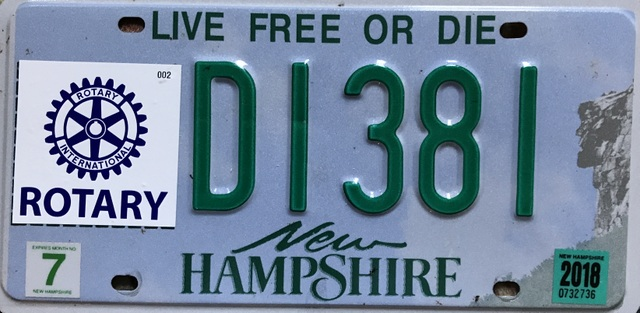 Get NH Rotary License Plates | Rotary District 7870