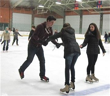 Quentin, Ale, and Noeli Skating
