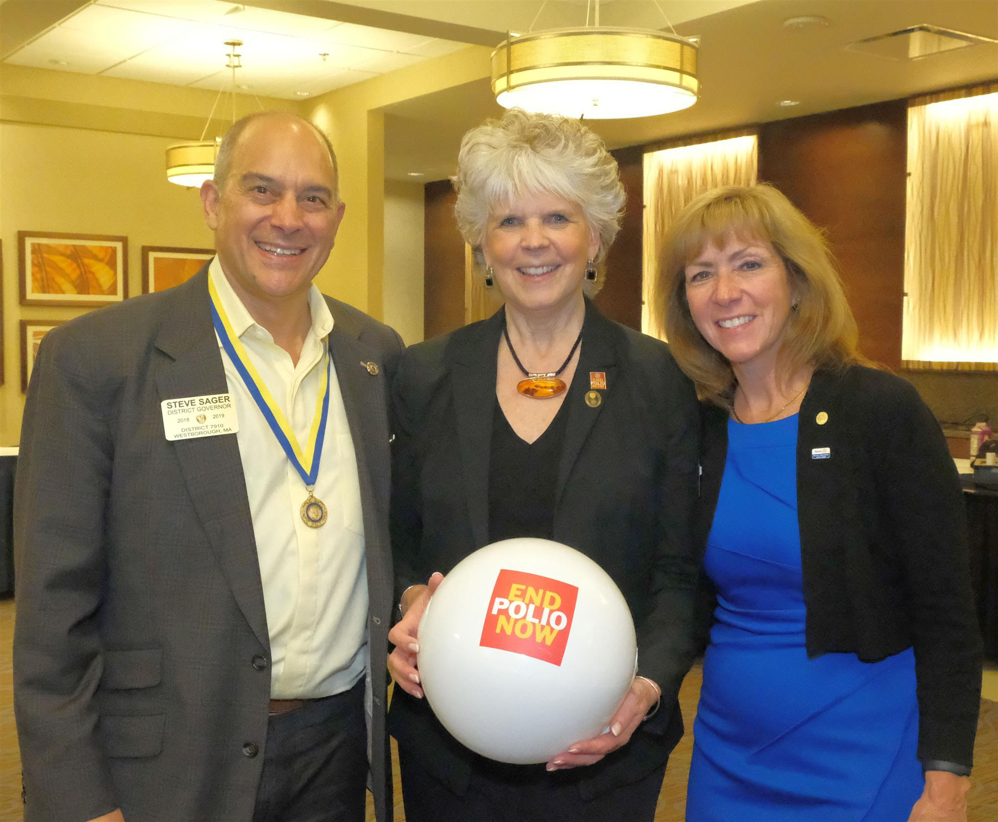 Left to right: Immediate Past District Governor Steve Sager, chair of the District Foundation Committee; Ann Lee Hussey; and District Governor Pam Anastasi