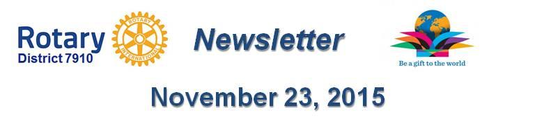 Rotary District 7910 Newsletter November 23 2015