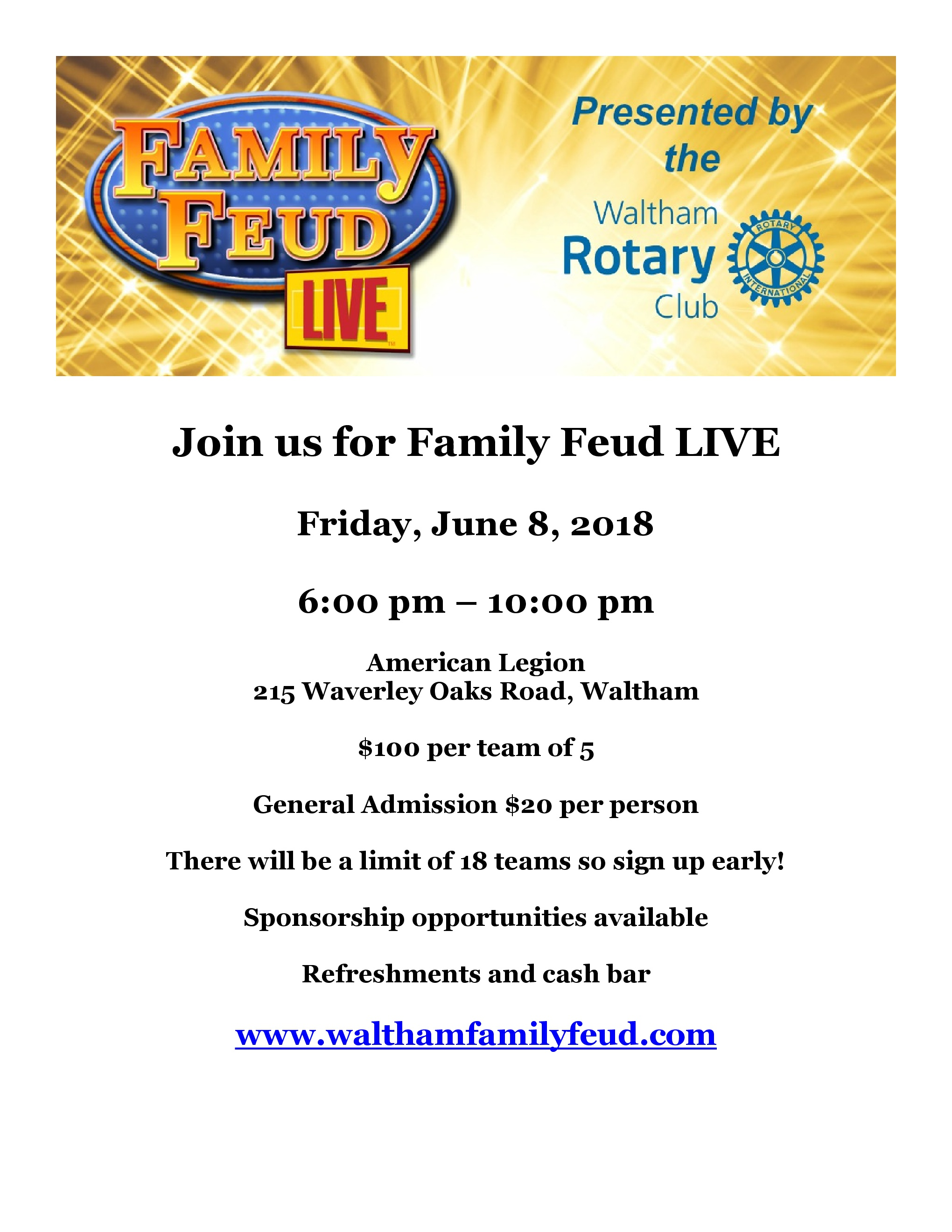 Waltham Club holds its first FAMILY FEUD fundraising event