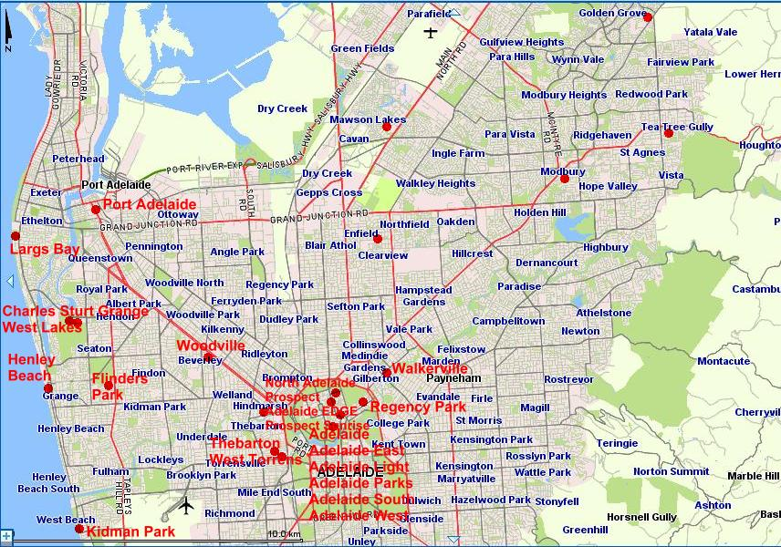 Adelaide Metro Map District 9500 Club locations in the Northern Adelaide Metro Area  Adelaide Metro Map