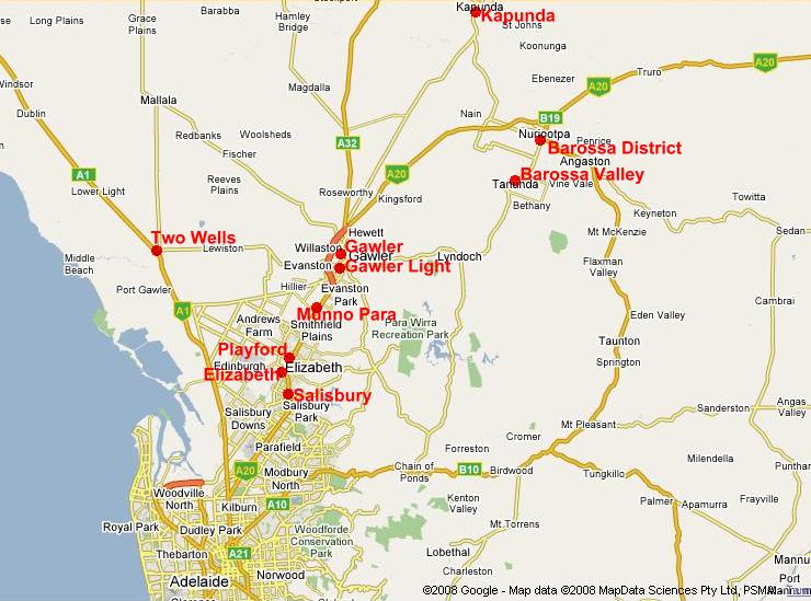 Adelaide On Map Of Australia.Rotary Districts Which Encompass Part Of South Australia Rotary