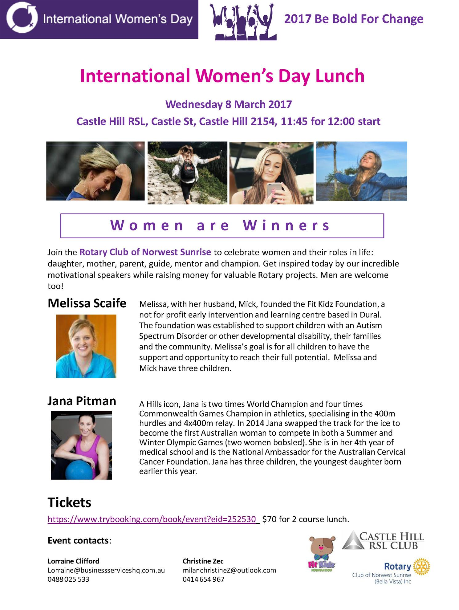 INTERNATIONAL WOMENS' DAY LUNCH | Rotary District 9685