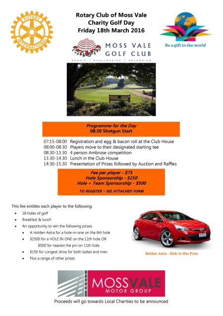 Moss Vale Charity Golf Day Rotary District 9685