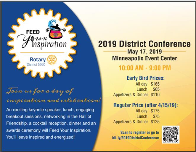 """d7dbf9b9f District Governor Irene Kelly is extending the 2018-19 theme """"Be Inspired""""  tor her district conference where we re encouraged to """"Feed Your  Inspiration."""