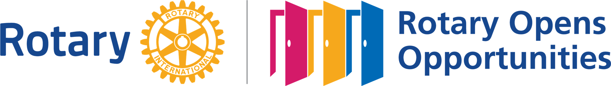 "Rotary logo of three open doors with the words ""Rotary Opens Opportunities"""
