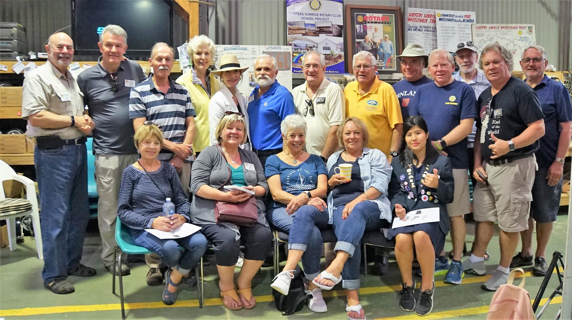 A District 5020 RFE team with the Rotary Club of Surfers Paradise, at their wheelchair manufacturing facility in Australia . They have delivered 9,500 wheelchairs so far.