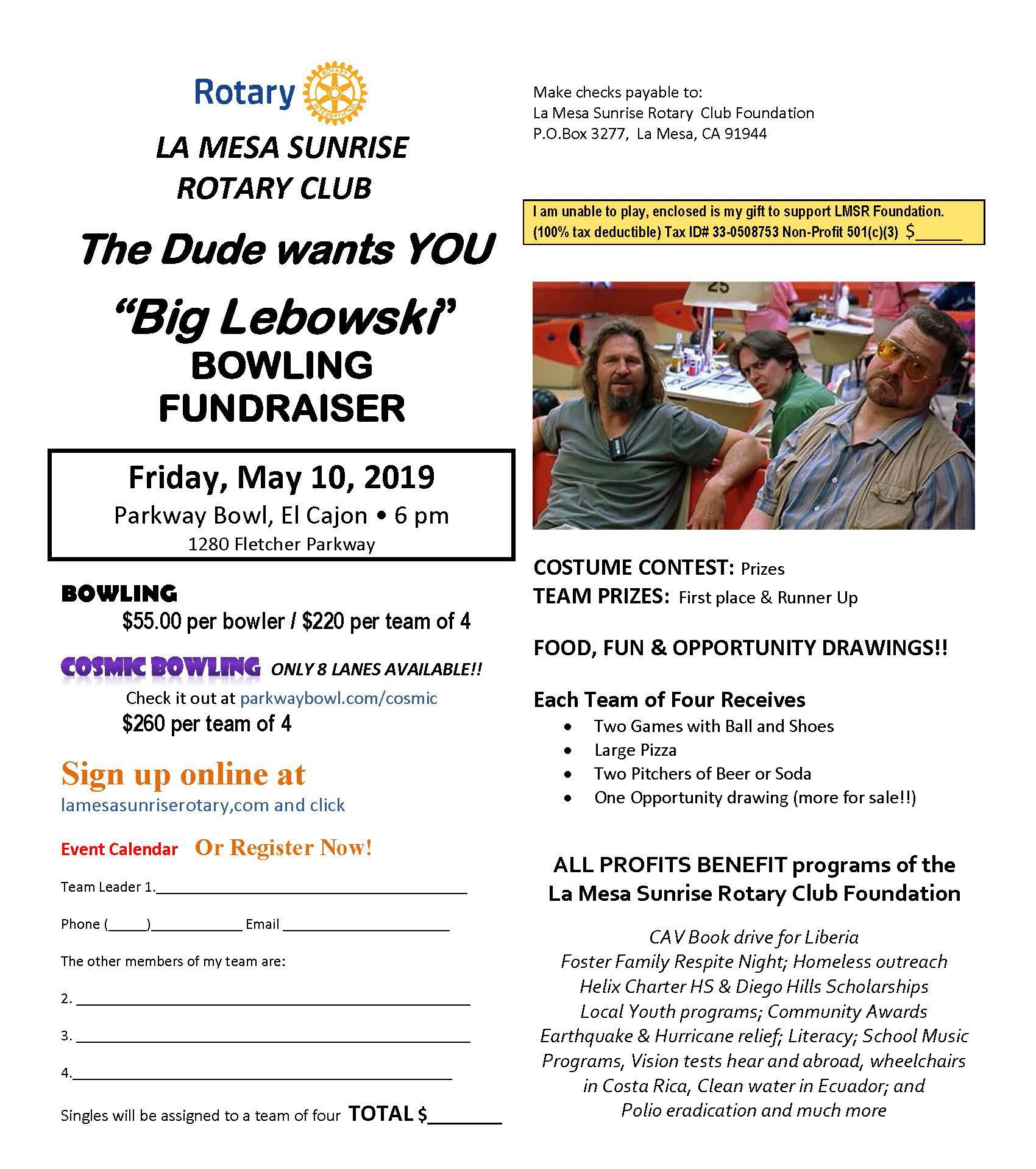 low priced b0da8 b74c2 The La Mesa Sunrise Rotary Club is holding its 18th Annual Bowling  Fundraiser on Friday, May 10, 2019 at Parkway Bowl in El Cajon beginning at  6 00 p.m. It ...