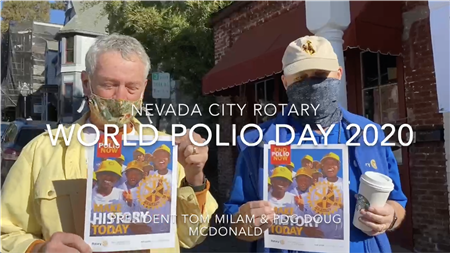 Nevada City Rotary out raising money to eradicate Polio on World Polio Day 2020