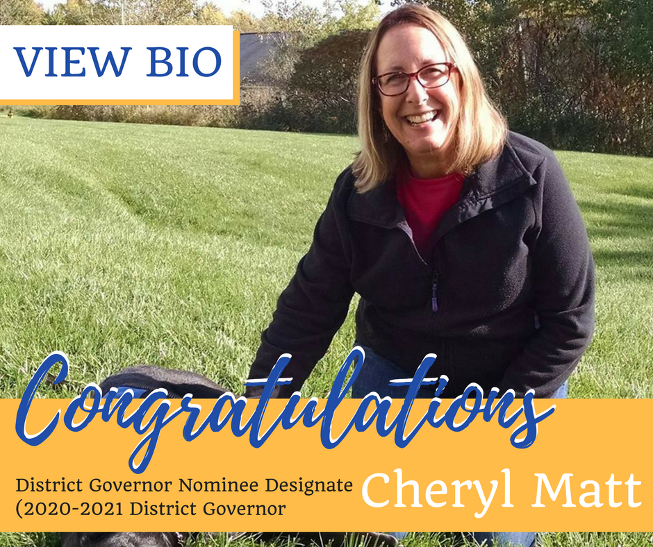 congratulations cheryl matt district governor nominee designate of rotary district 7150