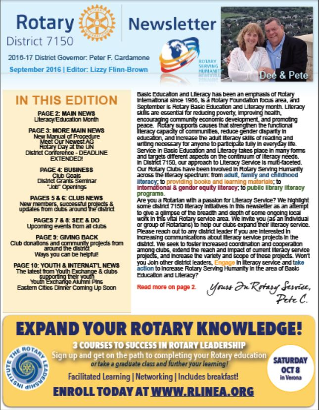 rotary district 7150 monthly newsletter september edition