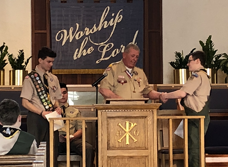 Reading Rotary John Halsey presents Eagle Scouts with Certificates from Rotary