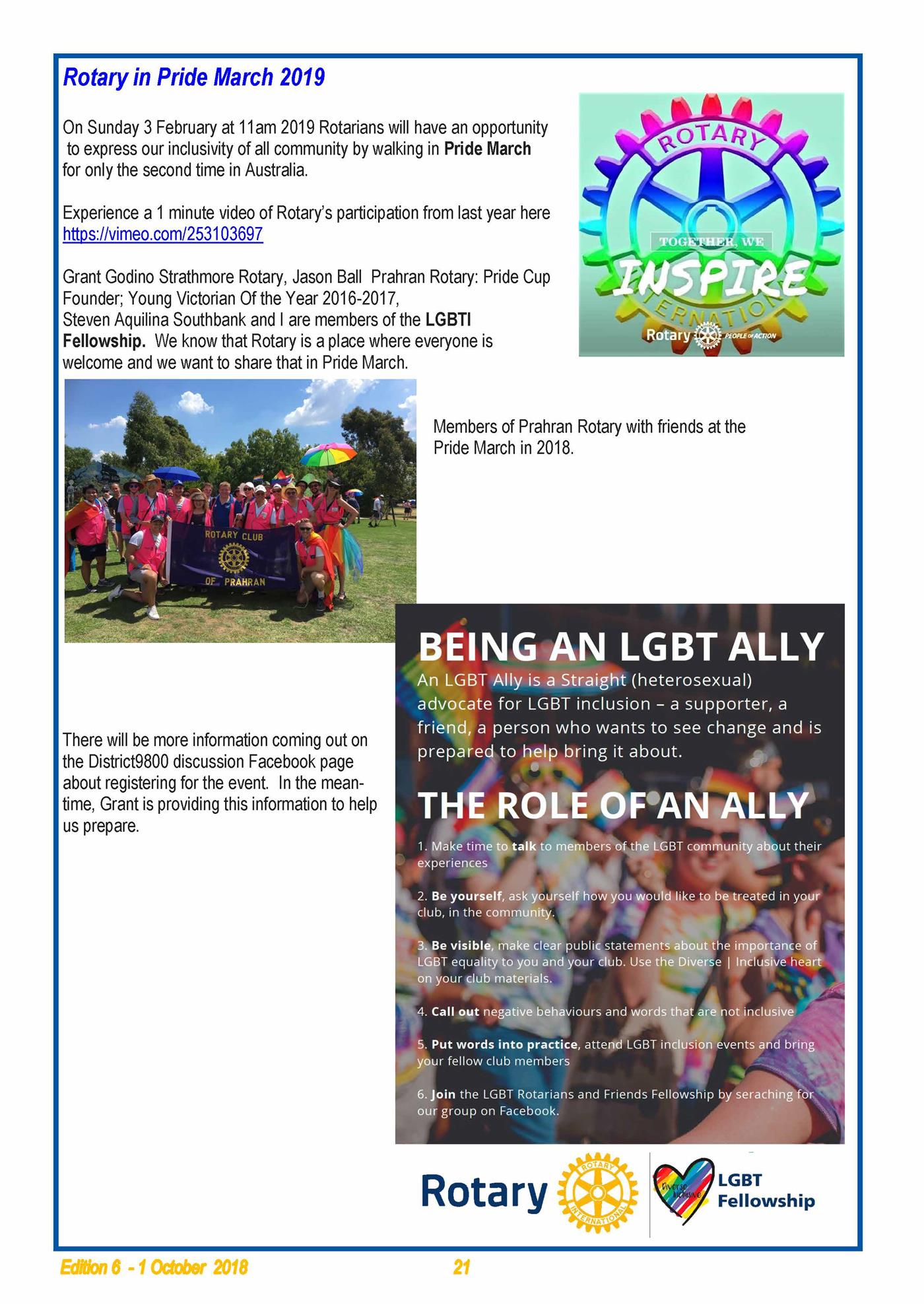 Rotary in Pride March, 2019   District 9800