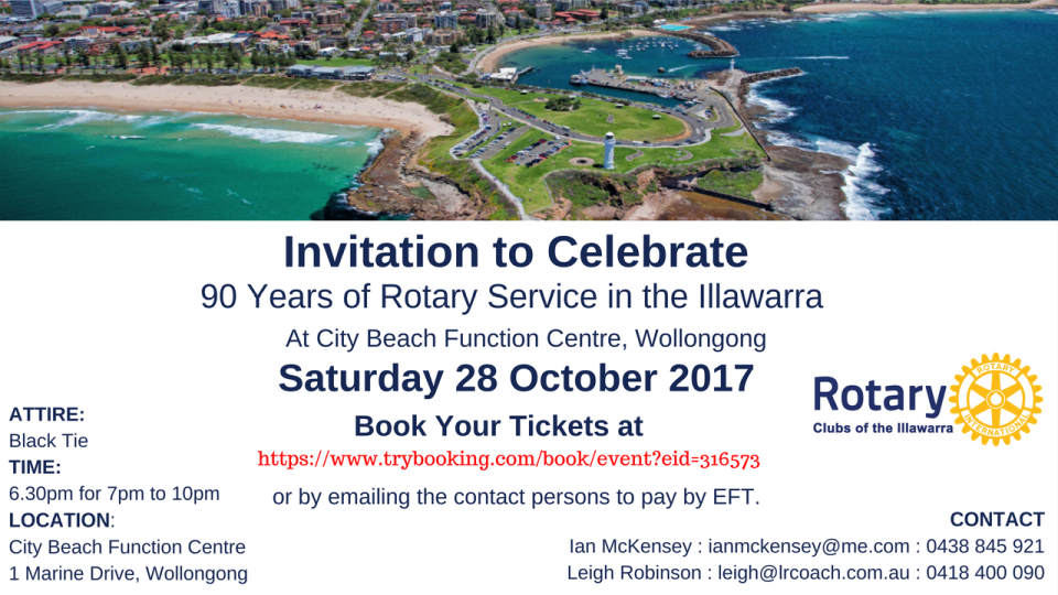 Celebrate 90 Years of Rotary Service in the Illawarra