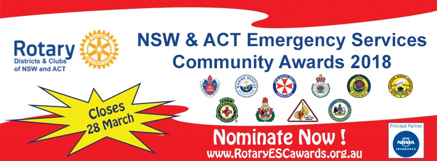Rotary Emergency Services Community Awards close 28 March 2018