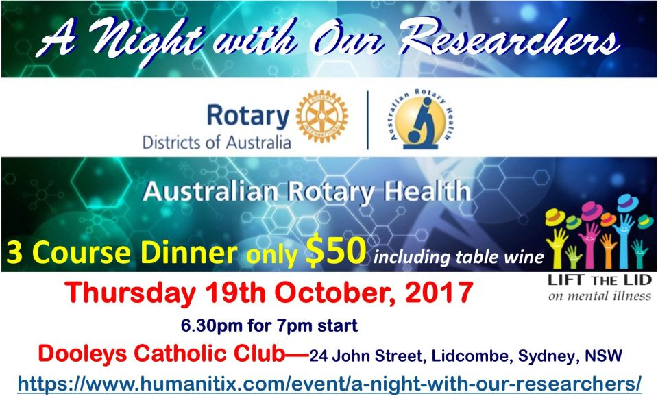 A Night with Our Researchers - dinner for Australian Rotary Health