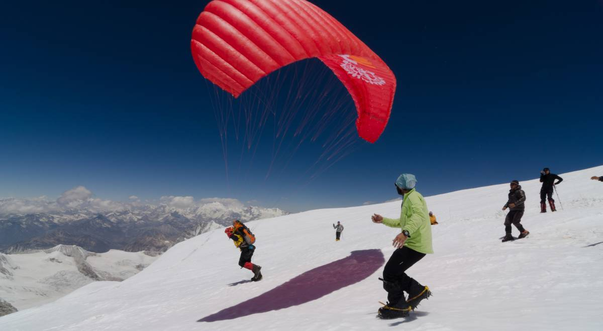 Paraglider being launched