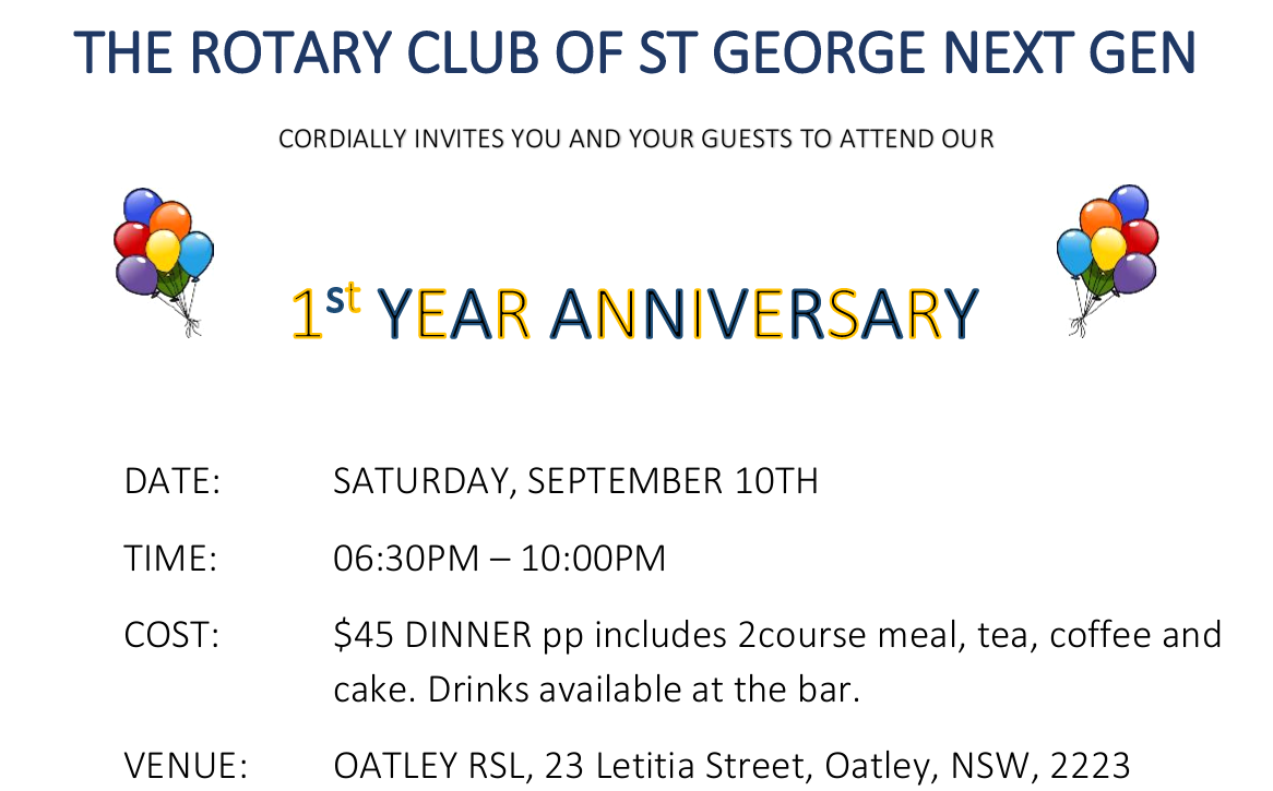 Rotary Club of St George Next Gen - invitation to first anniversary celebration