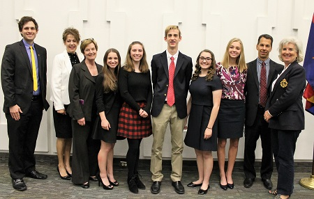 Judges: Adam Evans, Dr. Jan Gehler, Mary Blank with 2017 Youth Salute Winners: Serena Schein, Madison Sitkiewicz, Jack Everroad,  Hannah Novack and Katherine Wick; with Youth Salute Committee Co-Chairs: Mike Savastio and Sara Crosby-Hartman