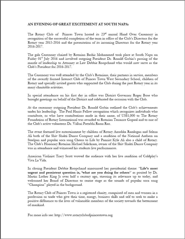 2016 RC Princes Town Handover