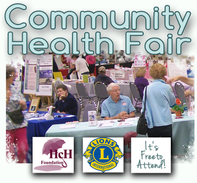 Community Health Fair Logo: Havasu Community Health Foundation partnering with the Lions Club; a free event.