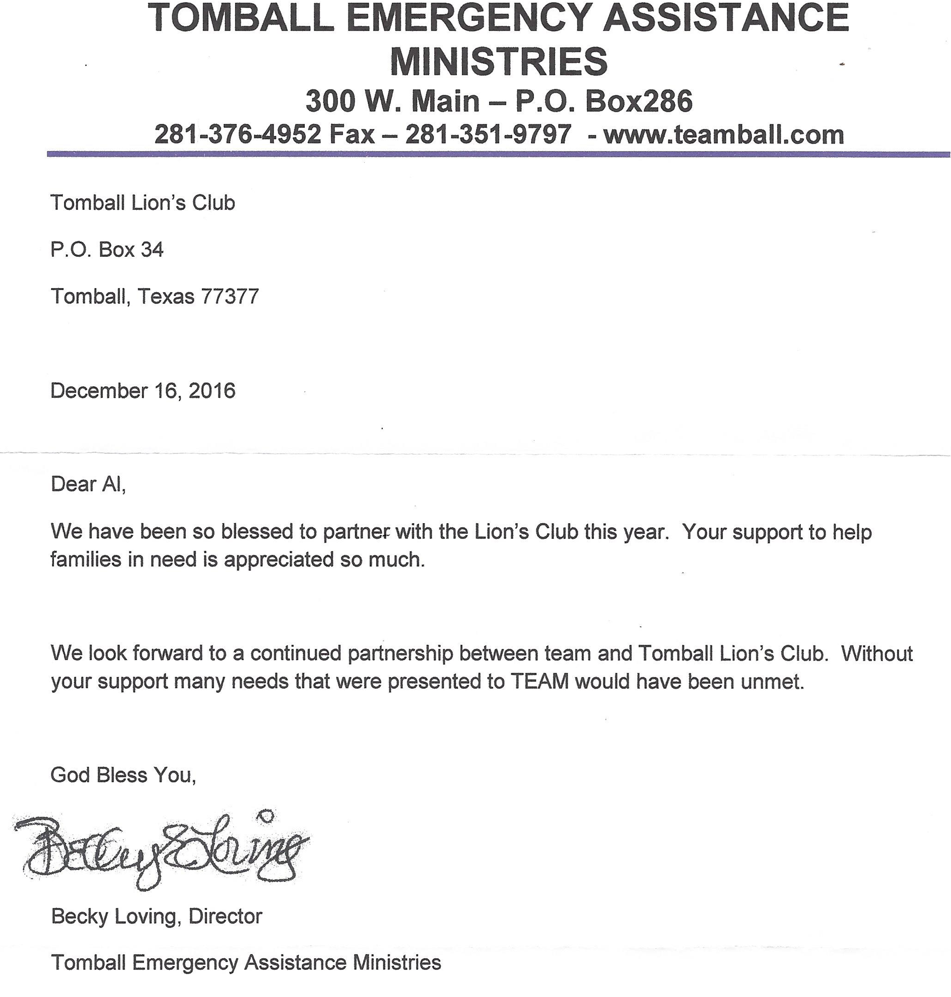 Appreciation Letters  Tomball Lions Club