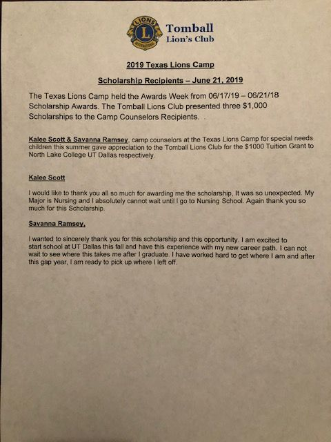 Appreciation Letters | Tomball Lions Club