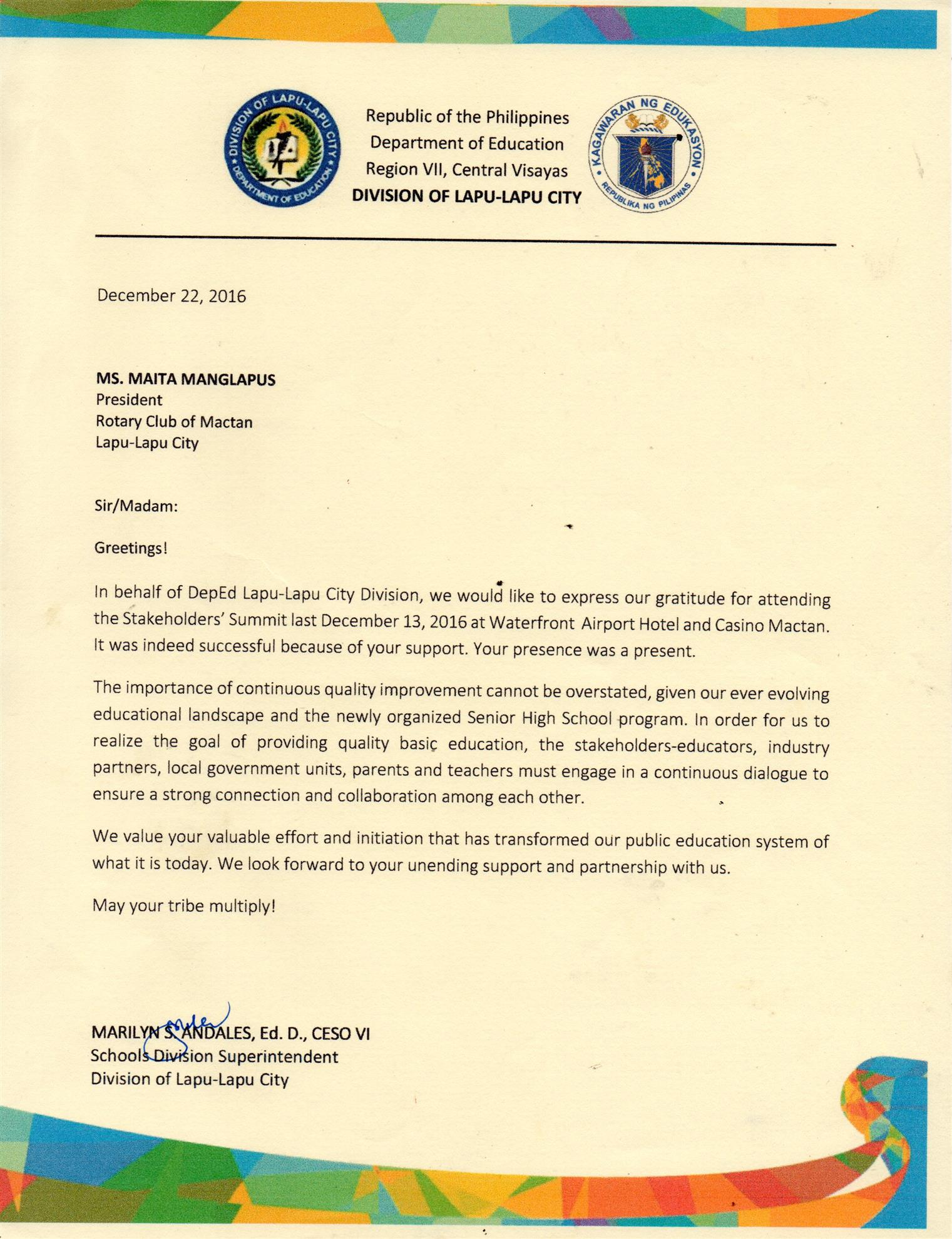 A Letter Of Thank You From The Dep Of Education Back To School Project