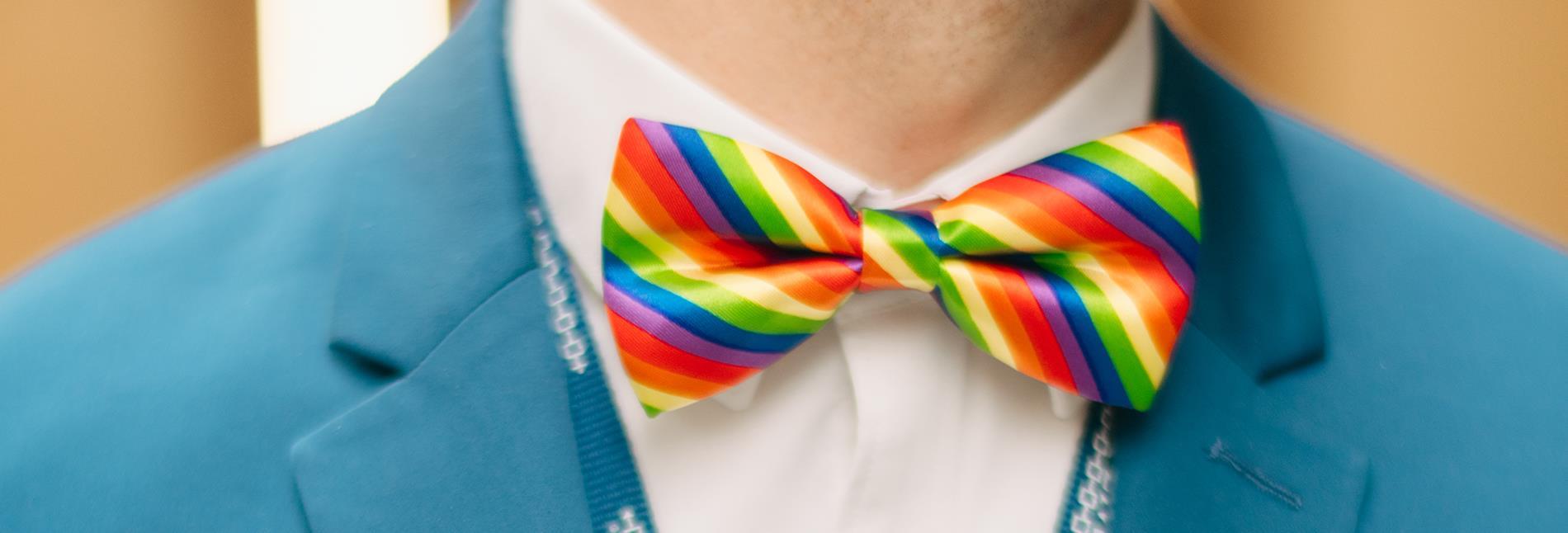 Close up of Rainbow Bowtie