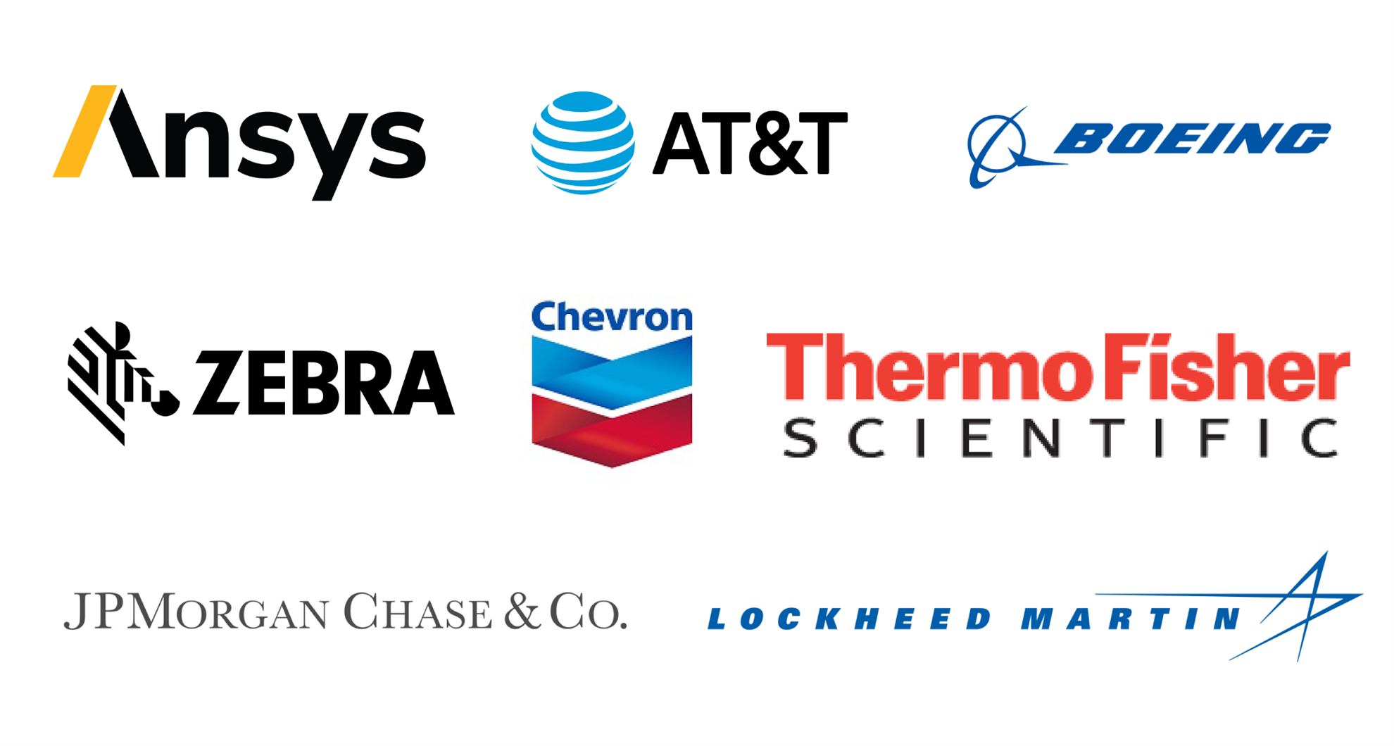 OAC Sponsors, which include: Ansys, AT&T, Boeing, Chevron, Thermo Fisher, Lockheed Martin, JP Morgan & Chase, Zebra