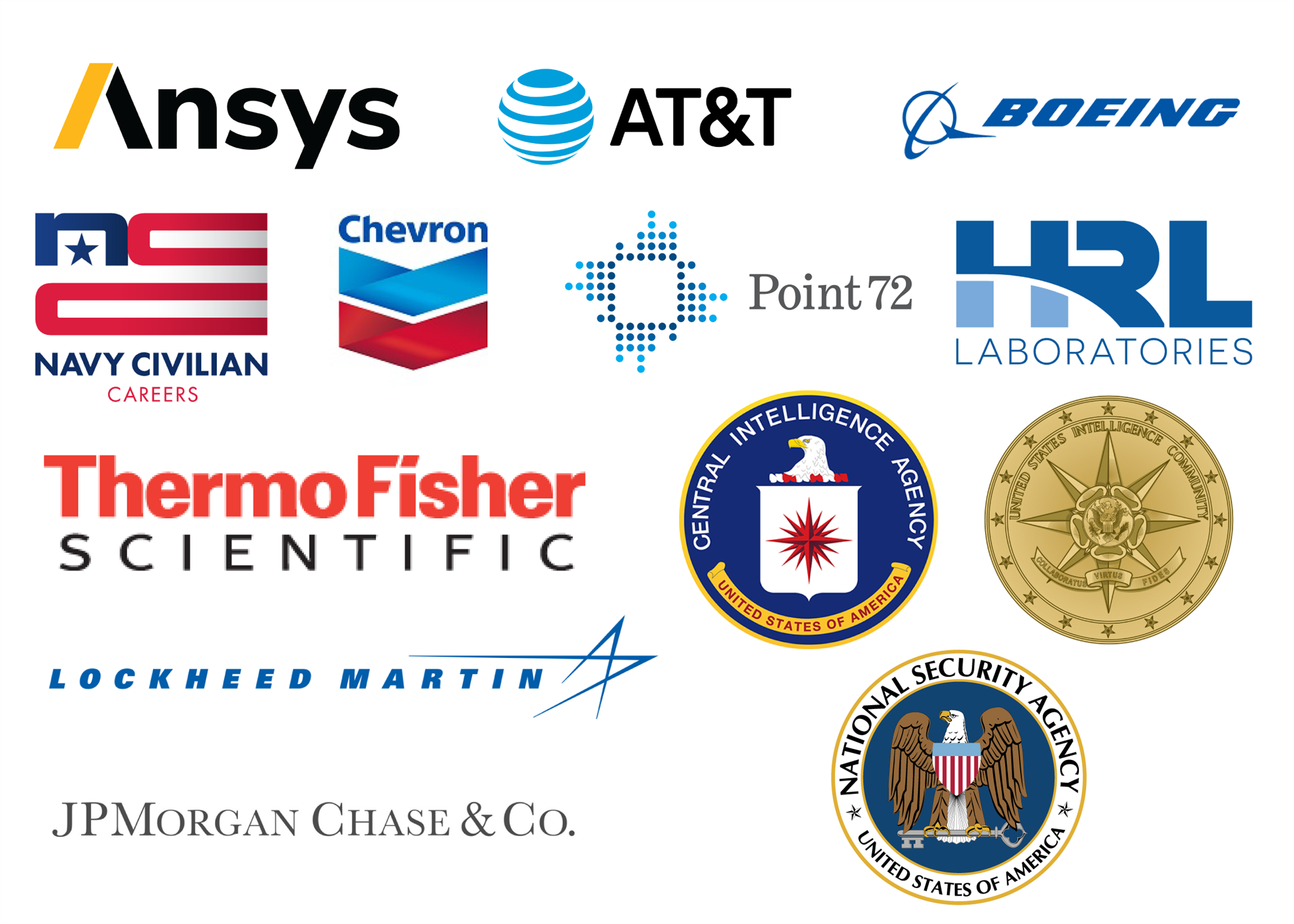 OAC Sponsors, which include: Ansys, AT&T, Boeing, Chevron, Navy Civilian Careers, Point72, HRL, Thermo Fisher, CIA, NSA, Lockheed Martin, JP Morgan & Chase, Intelligence Community