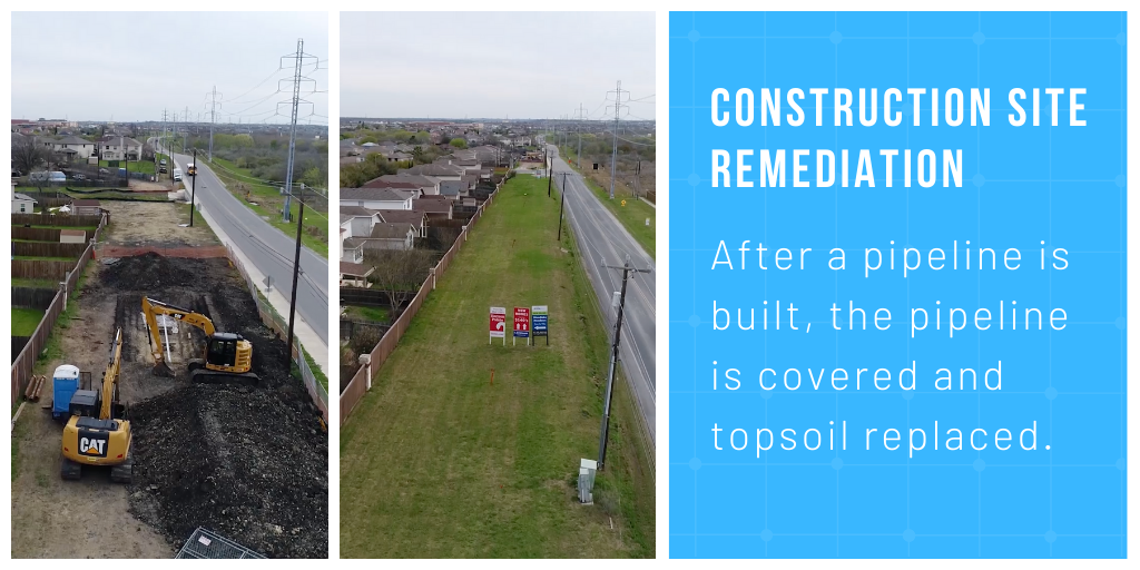 Construction Site Remediation: After a pipeline is built, the pipeline is covered and topsoil replaced.