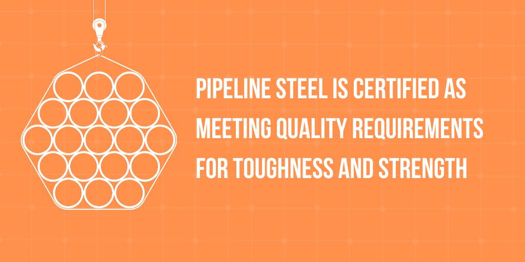Pipeline steel is certified as meeting quality requirements for toughness and strength