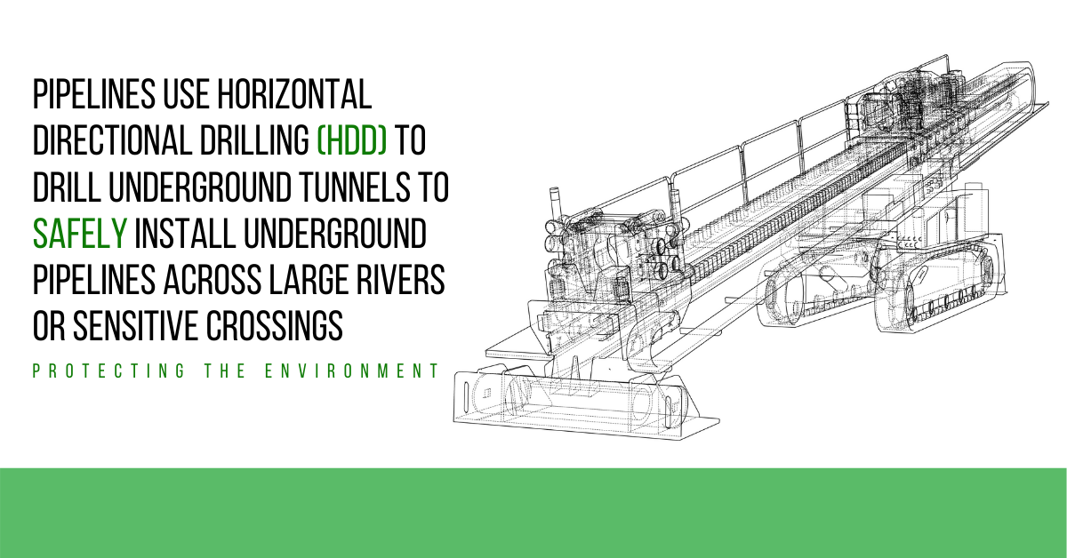Pipelines Use Horizontal Directional Drilling (HDD) to Drill Underground Tunnels to Safely Install Underground Pipelines Across Large Rivers or Sensitive Crossings