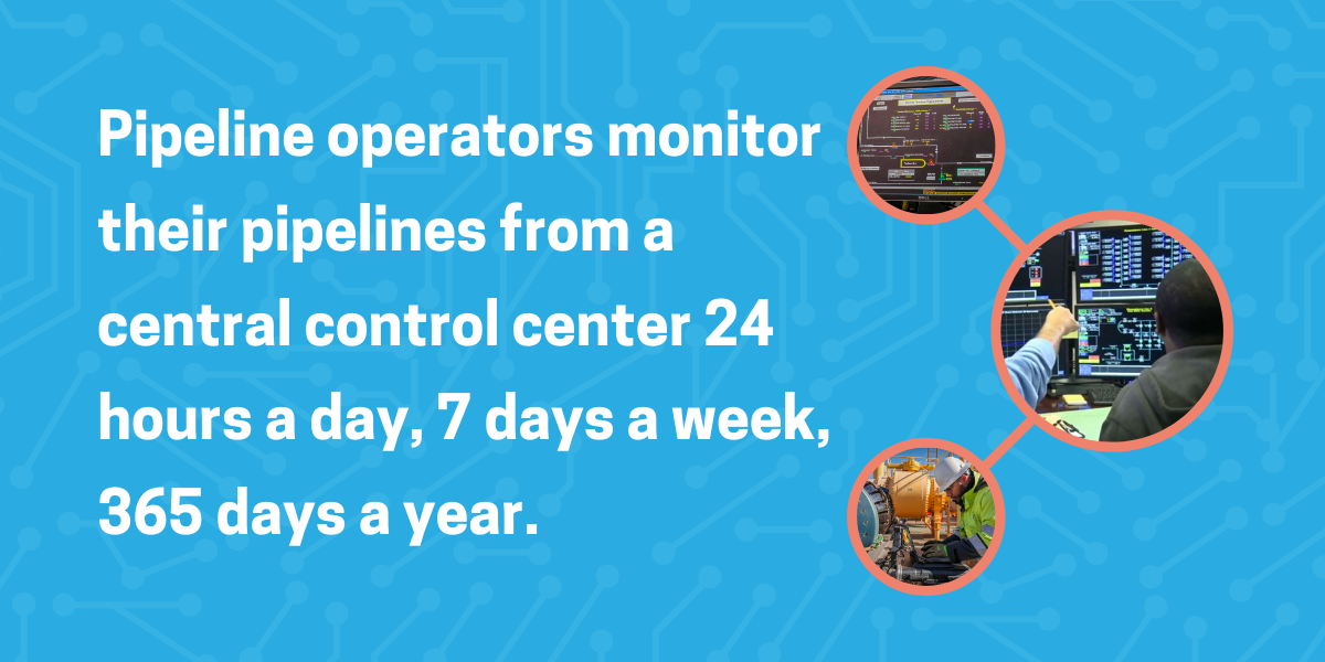 Pipeline operators monitor their pipelines from a control center 24 hours a day, 7 days a week, 365 days a year.