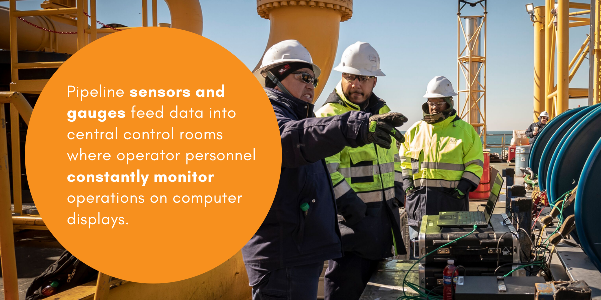 Pipeline sensors and gauges feed data into central control rooms where operator personnel constantly monitor operations on computer displays.