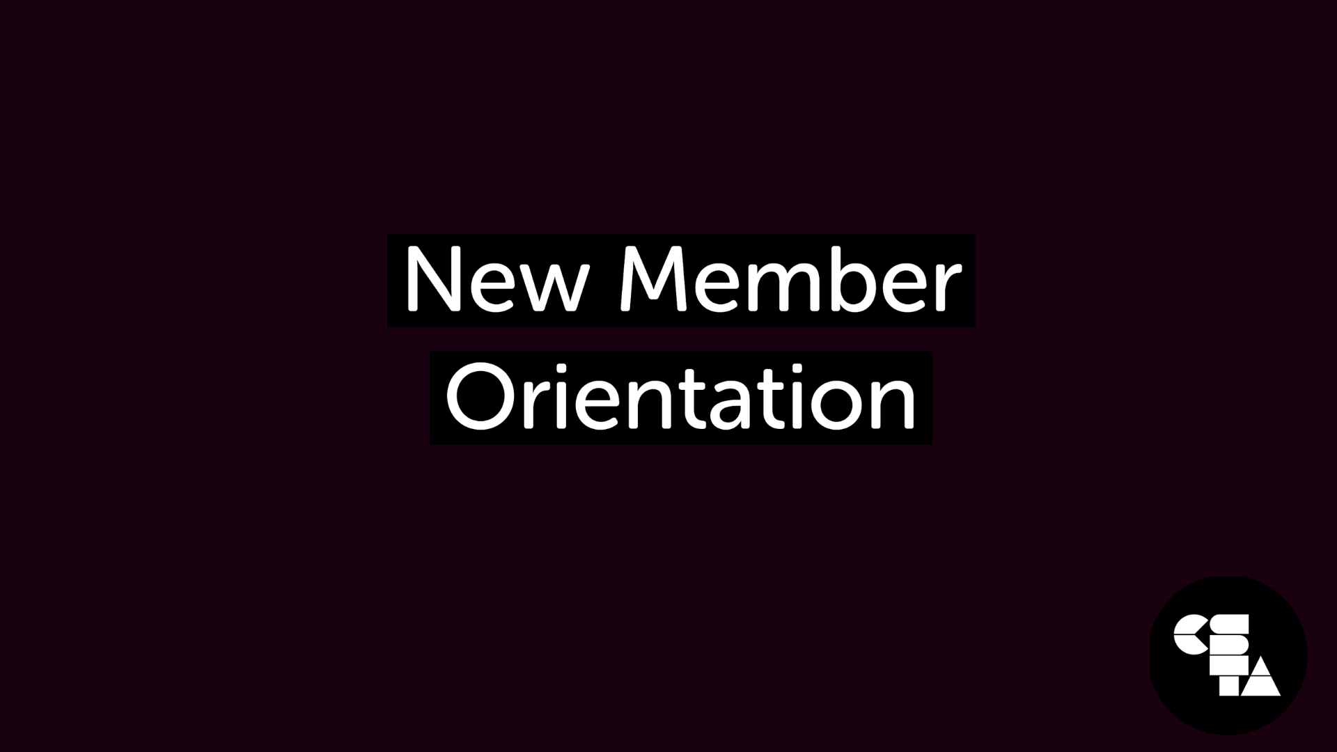 May New Member Orientation
