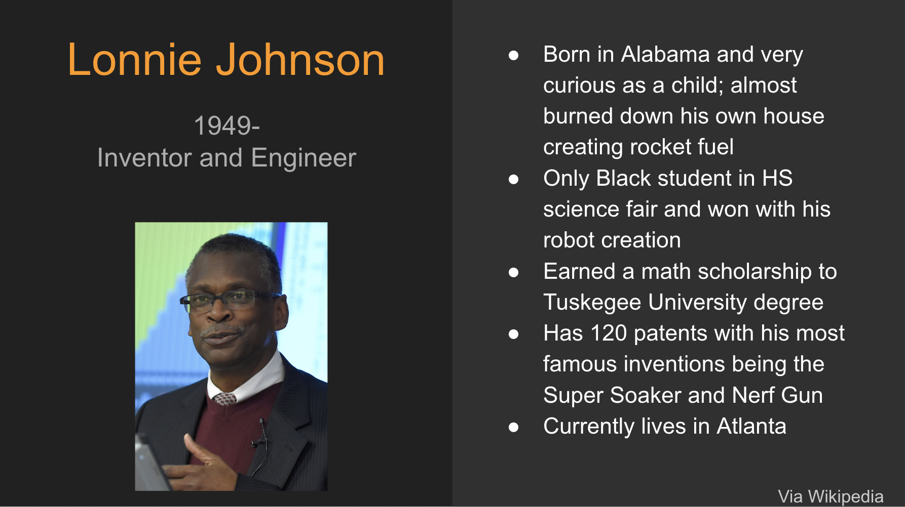 Lonnie Johnson Information