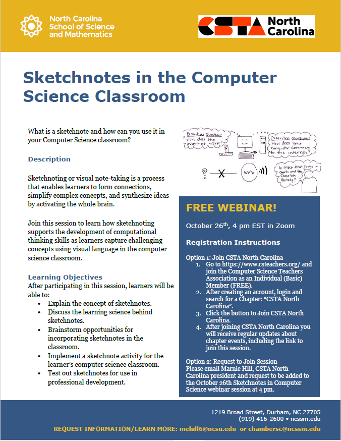 Monthly Meetup - Sketchnotes in the Computer Science Classroom  (CSTA North Carolina)